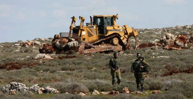 Leveling of Palestinian land by Israel for settlement purposes. (File photo)